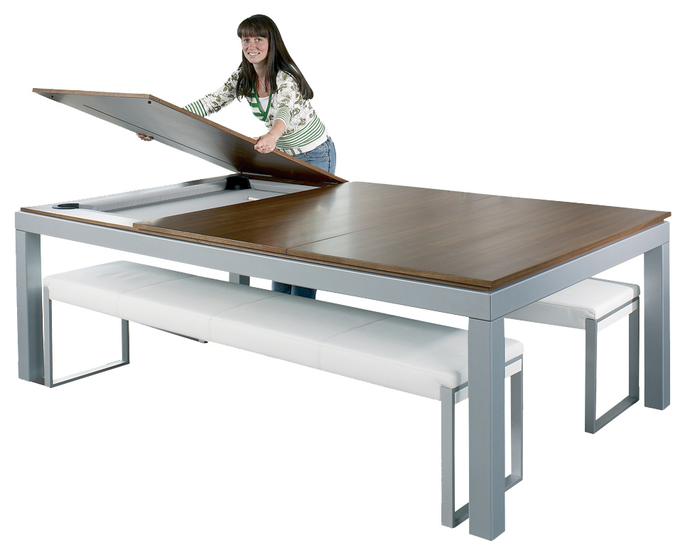 This Multi Functional, Slim, Modern Table Combines A Dining, Pool And Game Table  All In One.